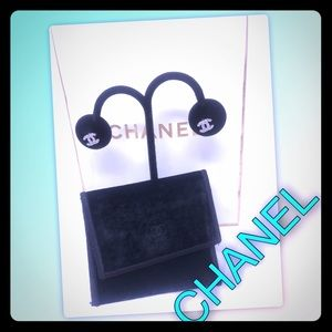 Chanel Double CC logo Crystal and Silver Earrings